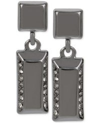 Kenneth Cole New York Hematite Tone Pave Rectangle Drop Earrings