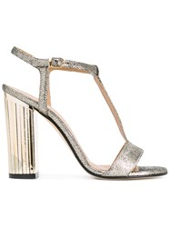 Marc Ellis Metallic Grey Grained T Bar Sandals