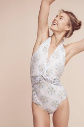 Anthropologie Twist Front Halter One Piece Sky