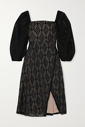 Alice Olivia Taina Wrap Effect Broderie Anglaise Swiss Dot Tulle Dress Black