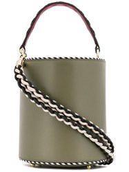 Les Petits Joueurs Braided Strap Bucket Bag Green