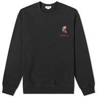 Alexander Mcqueen Rose Embroidered Crew Sweat Black