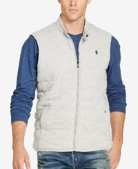 Polo Ralph Lauren Men's Big And Tall Quilted Jersey Vest Salt And Pepper