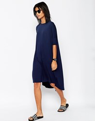 Asos Oversize T Shirt Dress With Curved Hem Navy