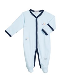 Kissy Kissy Cozy Pups Striped Embroidered Footie Playsuit Size 0 9 Months Blue
