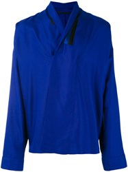 Haider Ackermann Wrap Front Shirt Men Silk S Blue