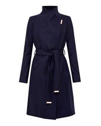 Ted Baker Fylio Magnetic Clasp Long Coat Navy