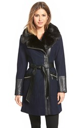 Via Spiga Faux Leather And Faux Fur Trim Belted Wool Blend Coat Navy