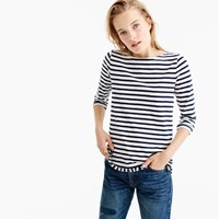J.Crew Striped Boatneck T Shirt With Fringe