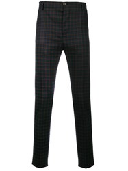 Al Duca D'aosta 1902 Checked Trousers Spandex Elastane Virgin Wool Blue