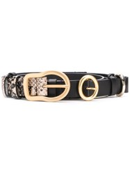 Dorothee Schumacher Snakeskin Pattern Belt Black