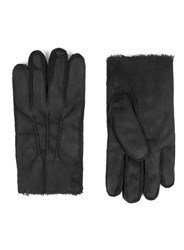 Topman Black Leather Faux Shearling Lined Gloves