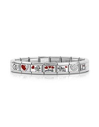 Nomination Wedding Stainless Steel Bracelet W Stearling Silver Symbols And Cubic Zirconia