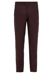 Incotex Slim Fit Flannel Trousers Burgundy