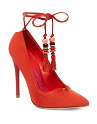 Brian Atwood Hanna Suede Lace Up Pumps Red
