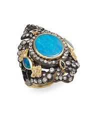 Armenta Old World Midnight Diamond Opal And Sapphire Ring Silver Gold
