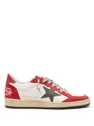 Golden Goose Deluxe Brand Ball Star Low Top Leather And Suede Trainers Red White