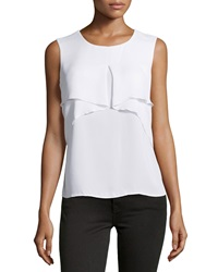 Laundry By Shelli Segal Drape Front Sleeveless Blouse Optic White