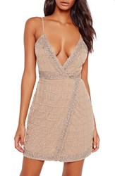 Missguided Women's Embellished Wrap Minidress