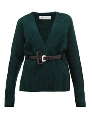 Toga Belted Ribbed Knit Wool Cardigan Green