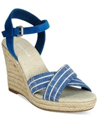 Nautica Longshore Wedge Sandals Women's Shoes Peacoat Stripes