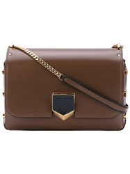 Jimmy Choo City Lockett Shoulder Bag Women Calf Leather One Size Brown