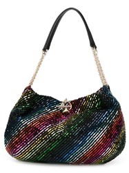 Sonia Rykiel Sequined Striped Shoulder Bag Black