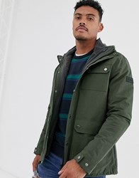Farah Blackpool Jacket With Detachable Borg Lining In Green