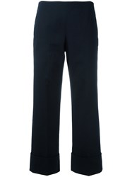 Fay Wide Leg Cropped Trousers Blue