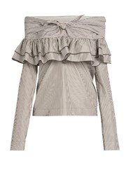 Isa Arfen Knot Front Ruffled Cotton And Silk Blend Top White Stripe