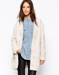 Pull And Bear Pullandbear Borg Teddy Coat Beige