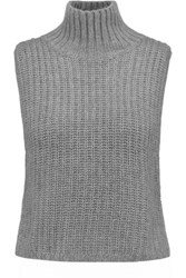 Autumn Cashmere Cropped Knitted Turtleneck Top Gray
