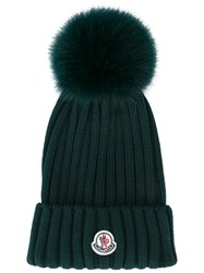 Moncler Bobble Top Beanie Green