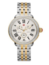 Michele Serein Diamond 18K Goldplated And Stainless Steel Chronograph Bracelet Watch Silver Gold