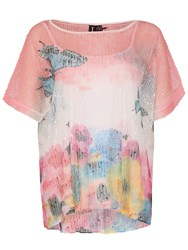 Izabel London Floral Layered Knit Top Pink