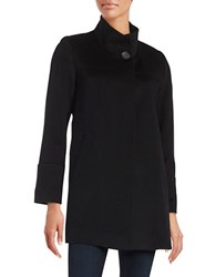 Fleurette Wool Mock Collar Coat Black