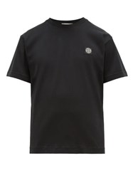 Stone Island Logo Patch Cotton Jersey T Shirt Black