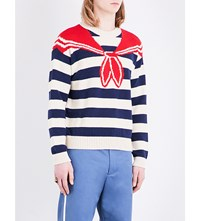 Gucci Striped Knitted Cotton Jumper Blue White