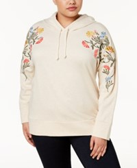 Style And Co Plus Size Cotton Embroidered Hoodie Created For Macy's Floral