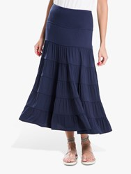 Max Studio Tiered Jersey Skirt Navy