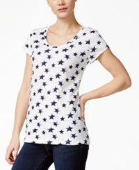 Styleandco. Style And Co. Star Print Short Sleeve Top Only At Macy's White Ink