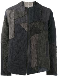 By Walid Textured Bomber Jacket Grey