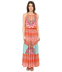 Hale Bob Tribal Wave Maxi Dress Fuchsia Women's Dress Pink