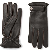 Dunhill Cashmere Lined Leather Gloves Brown