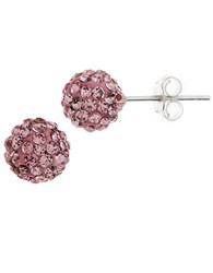 Lord And Taylor Sterling Silver Crystal Encrusted Ball Stud Earrings Pink