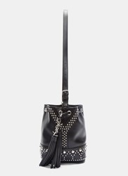 Saint Laurent Studded Pearl Bucket Bag Black