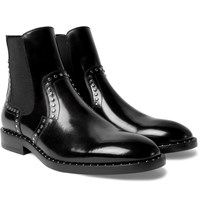 Jimmy Choo Fergus Studded Polished Leather Chelsea Boots Black