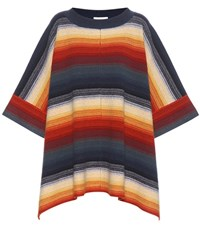 Chloe Wool Blend Poncho Multicoloured
