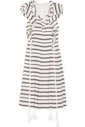 Apiece Apart San Rafael Ruffled Striped Linen And Silk Blend Dress White