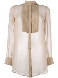 Givenchy Pleated Front Bib Sheer Shirt Nude And Neutrals